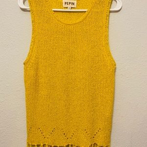 Pepin- VTG Yellow Knit Top with Fringe Details- M